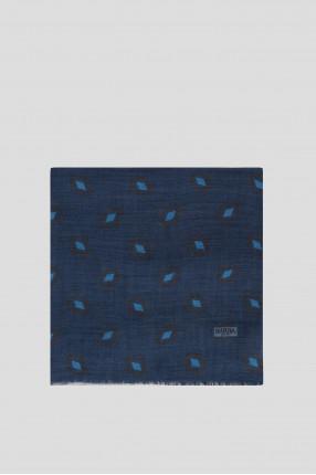 Мужской синий шерстяной шарф 1