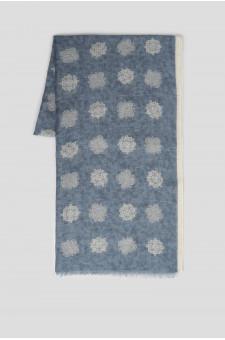 Мужской синий шарф с принтом