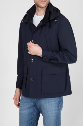 Мужская темно-синяя шерстяная куртка 1