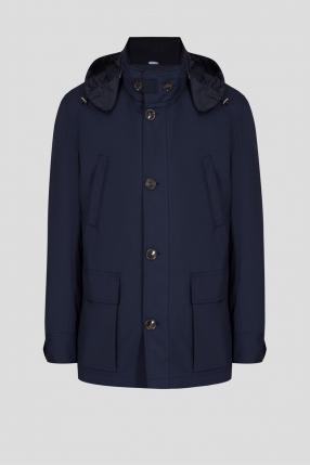 Мужская темно-синяя шерстяная куртка