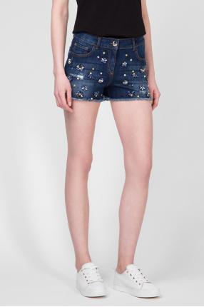 Женские темно-синие джинсовые шорты 1