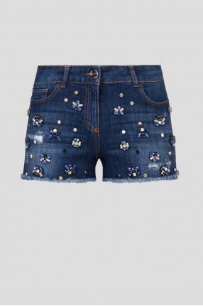 Женские темно-синие джинсовые шорты