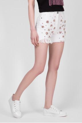 Женские белые джинсовые шорты 1