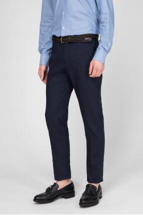 Мужские темно-синие шерстяные брюки  1