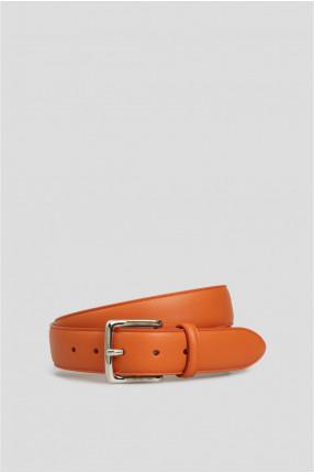 Мужской оранжевый кожаный ремень