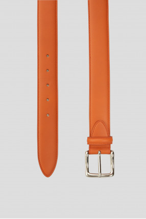 Мужской оранжевый кожаный ремень 1