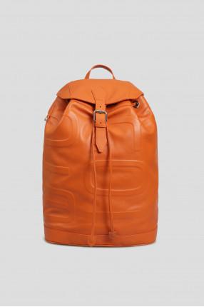 Мужской оранжевый кожаный рюкзак