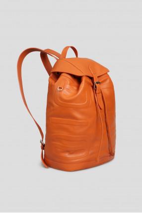 Мужской оранжевый кожаный рюкзак 1