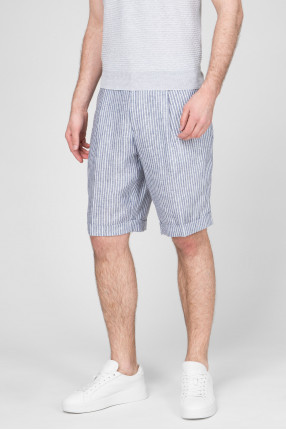 Мужские льняные шорты в полоску 1