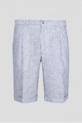 Мужские льняные шорты в полоску