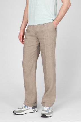 Мужские бежевые льняные брюки 1