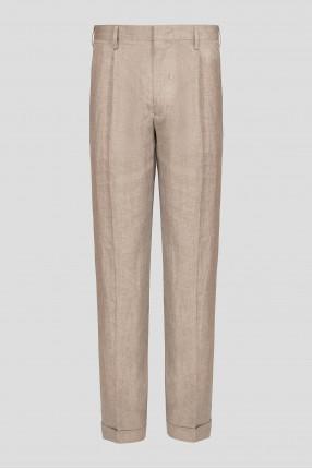 Мужские бежевые льняные брюки