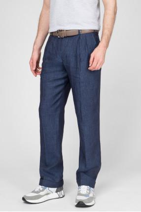 Мужские темно-синие льняные брюки 1