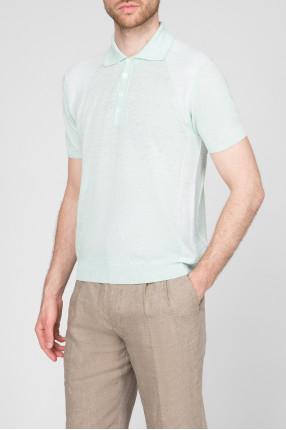 Мужское светло-зеленое льняное поло 1