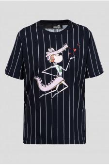 Женская черная футболка в полоску