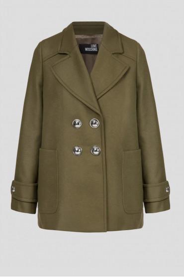 Женское зеленое шерстяное пальто 1