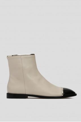 Женские белые кожаные ботинки