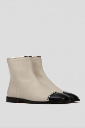 Женские белые кожаные ботинки 1